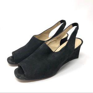 KENNETH COLE black suede peep toes wedges